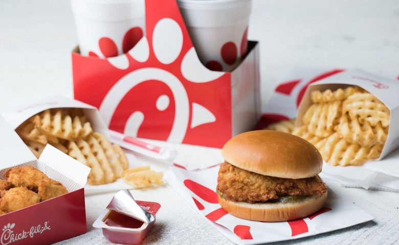 Image of an assortment of food and drinks from chick-fil-a