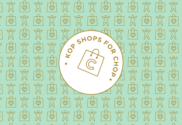 KOP shops for CHOP logo on patterned background