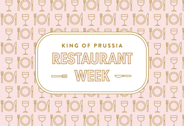 KOP restaurant week logo on patterend pink background