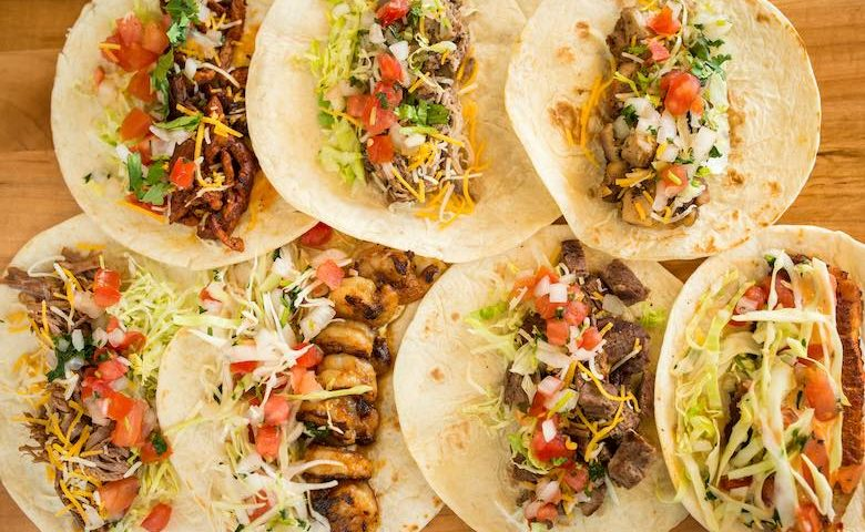 aerial view of tacos